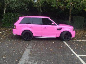 pink landrover wrap
