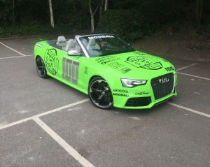 mod ball rally vehicle wrap on car