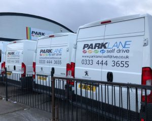 park lane signage on vans