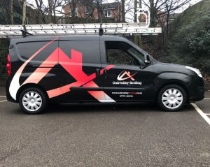 oakvalley roofing vehicle wrap on van